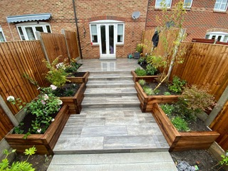 patio with garden boxes each side